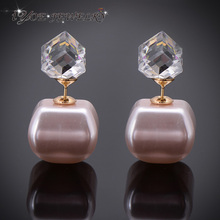 IYOE New Arrival Cube Crystal Double Face Stud Earrings Gold Color Multicolor Chocolate Bead Stud Earring Jewlery For Women(China (Mainland))