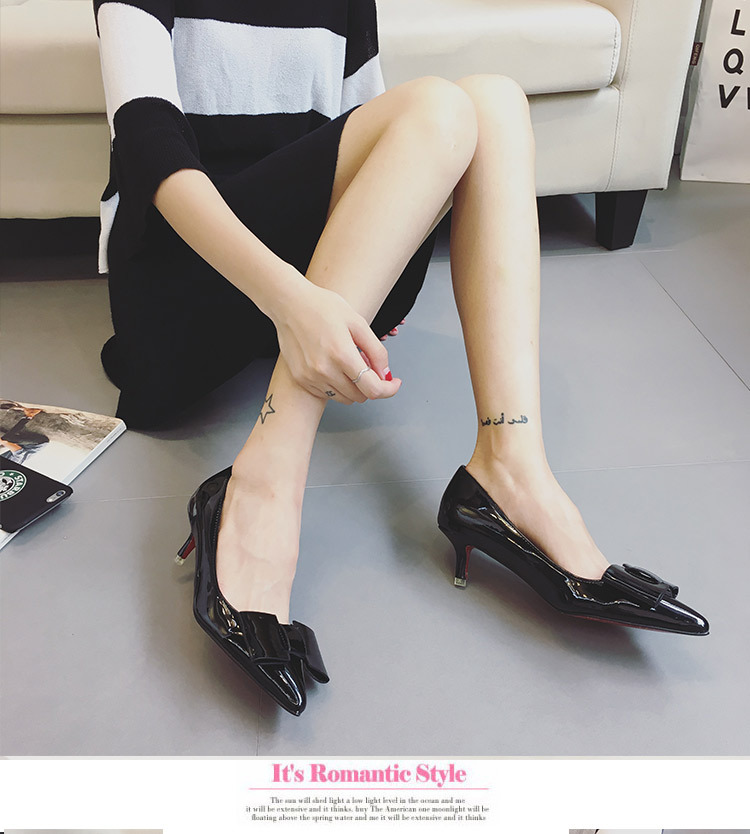 New Fashion Sweet Patent Leather High Heels Shoes Pointed Shallow Bow Autumn Ladies Low Thin Heel Pumps Women High-heeled Shoes