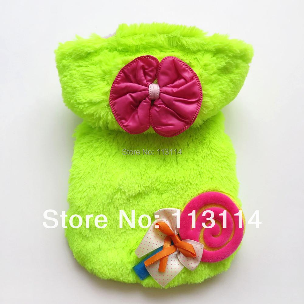 Glanzende groene lollipop warm pluche hond jas jassen hoodies pet apparel hondenkleding xs/s/m/l/xl gratis verzending(China (Mainland))