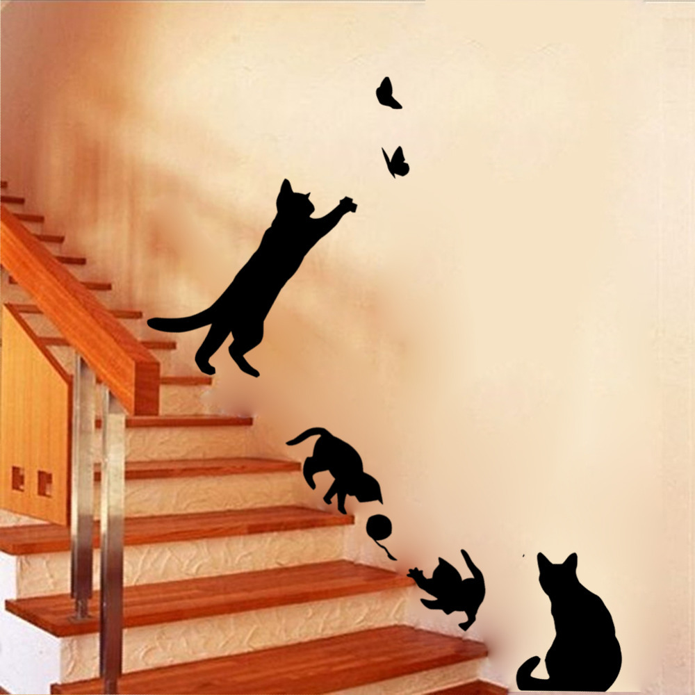 New Arrived Cat play Wall Sticker Butterflies Stickers Decor Decals for Walls Vinyl Removable Decal/Wall Murals(China (Mainland))