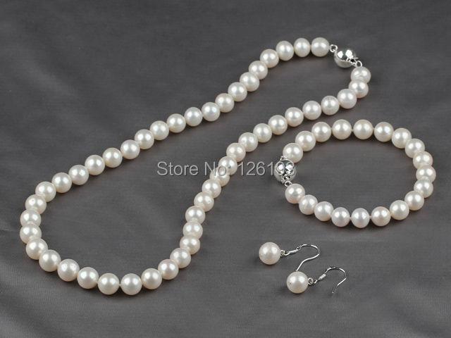 Nice Grade 8.5-9mm Natural White Freshwater Pearl Necklace, Bracelet & Earrings Set - Pearlstonesale-Miss Li store