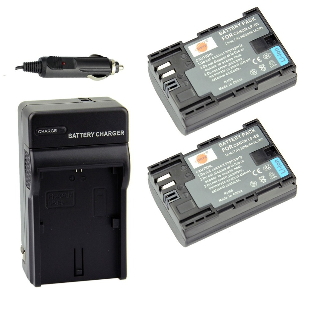 2pcs DSTE LP-E6 LPE6 Battery + DC88 Charger for Canon EOS 5D Mark II, 5D Mark III, 6D, 7D, 60D, 60Da,70D Free shipping(China (Mainland))