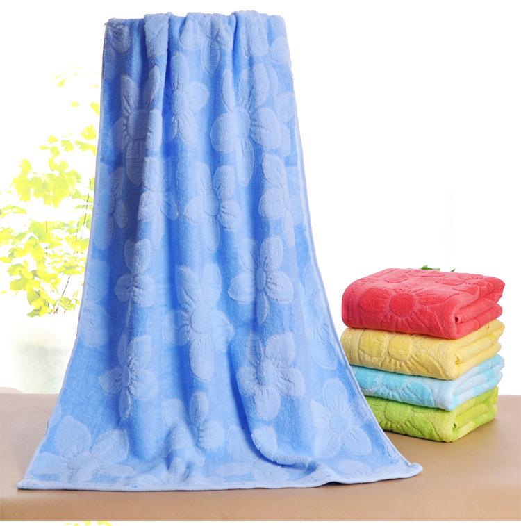 Bamboo Untwisted Yarn Cotton Beach Towels For Adults Baby Flower Jacquard Bath Towel Washcloth 70*140cm Bathroom Swimwear Shower(China (Mainland))