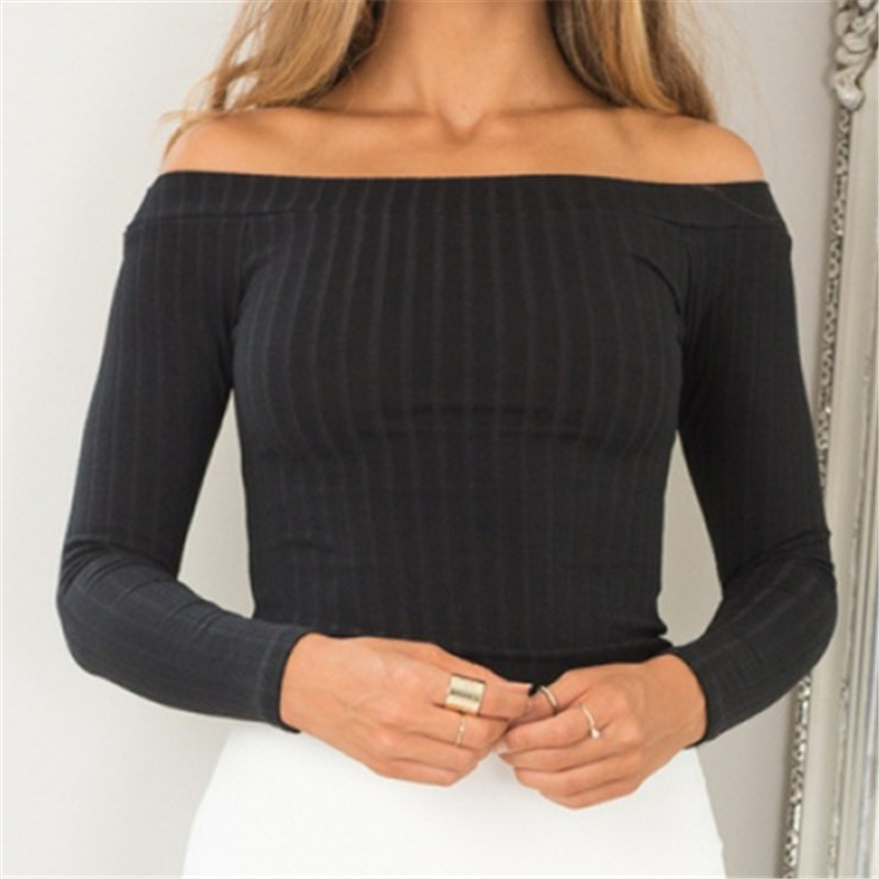 Neophil 2016 Women Plus Size Sexy Off Shoulder Slash Neck Three Quarter Sleeve Striped Pattern Short Tops Blouses Blusas B1027(China (Mainland))