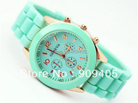 Mint green geneva Watch Jelly Watch Three circles Display Silicone Strap Candy Color Unisex Rubber Girls Ladies Women watches