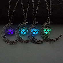 Buy 2017 Glowing Dark Pendant Necklaces Silver Plated Chain Necklaces Hollow Moon & Heart Choker Necklace Collares Jewelry for $1.27 in AliExpress store