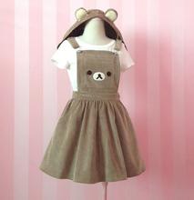 Super Cute Girl's Kawaii Rilakkuma Suspender Dress Bear Embroidery Lolita Winter Overall Dress with Detachable Hat(China (Mainland))