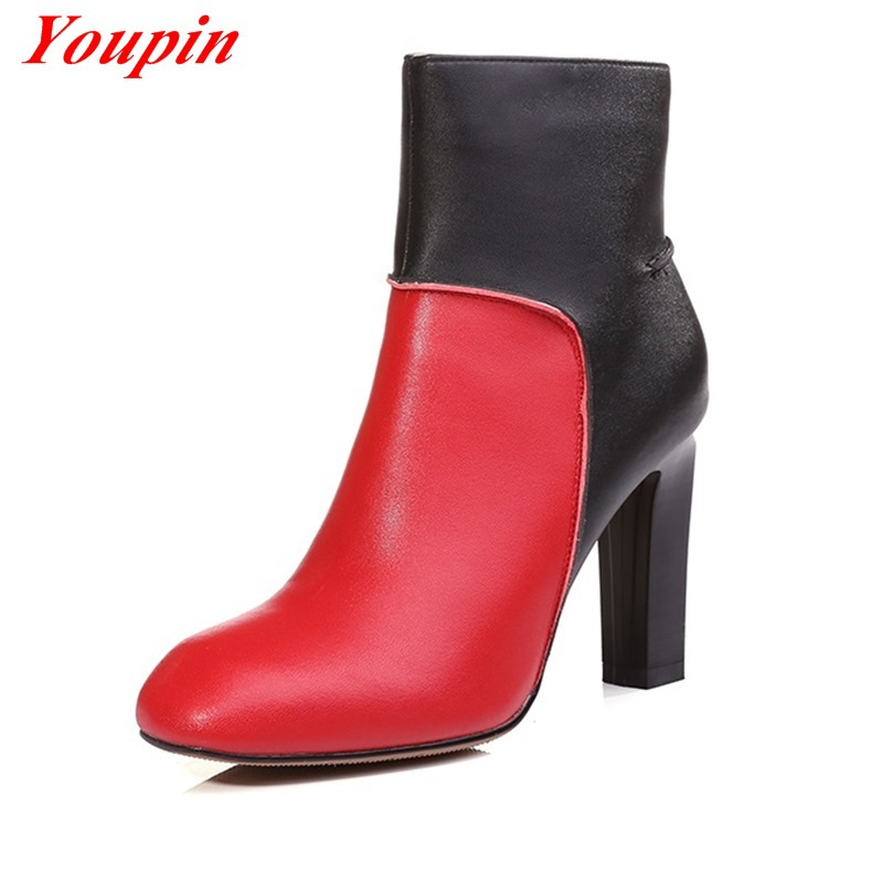 2015 autumn winter comfortable thick heel zipper leather belt lady fashion sexy black women boots size 34-39 2015 autumn winter<br><br>Aliexpress