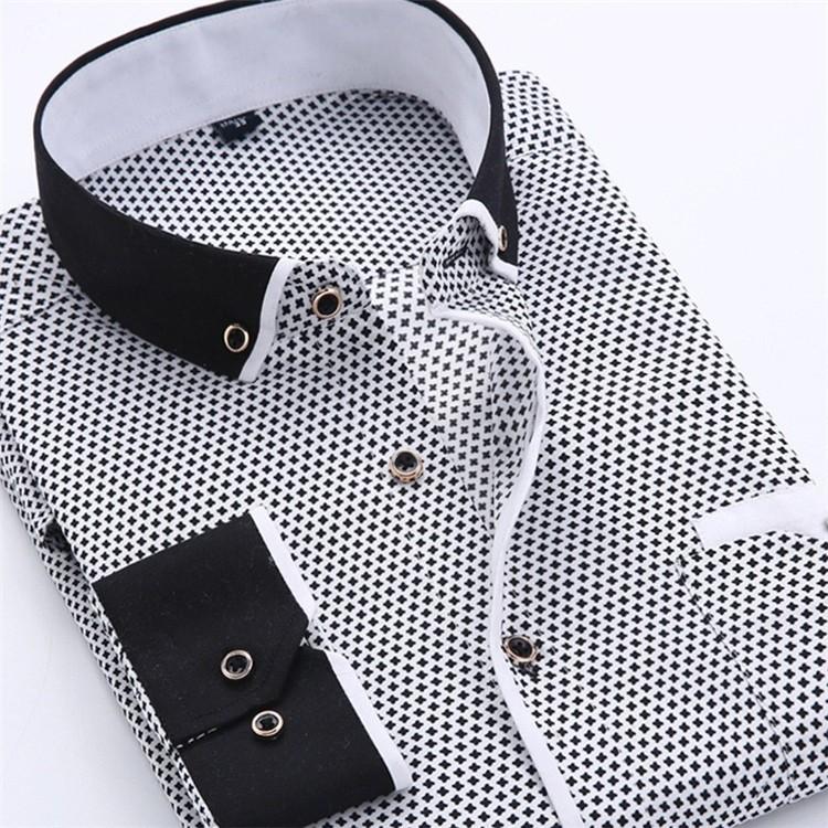 Men Dress Shirt 2016 Spring New arrival Button Down Collar High Quality Long Sleeve Slim Fit Male Business Shirts M-5XL YN02601