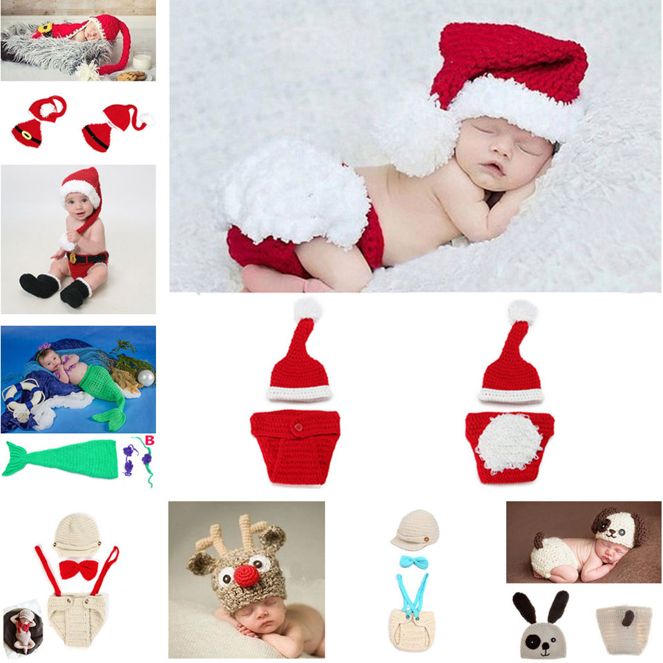 Crochet Christmas Hats Baby Crochet Photography Props Knitted Hats Set Infant Costume Set Newborn CARTOON Photo Props MZS-033(China (Mainland))