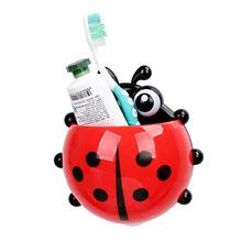 Creative Home Accessories Cartoon Ladybird Toiletries Toothpaste Holder Bathroom Sets Suction Hooks Tooth Brush Holder(China (Mainland))
