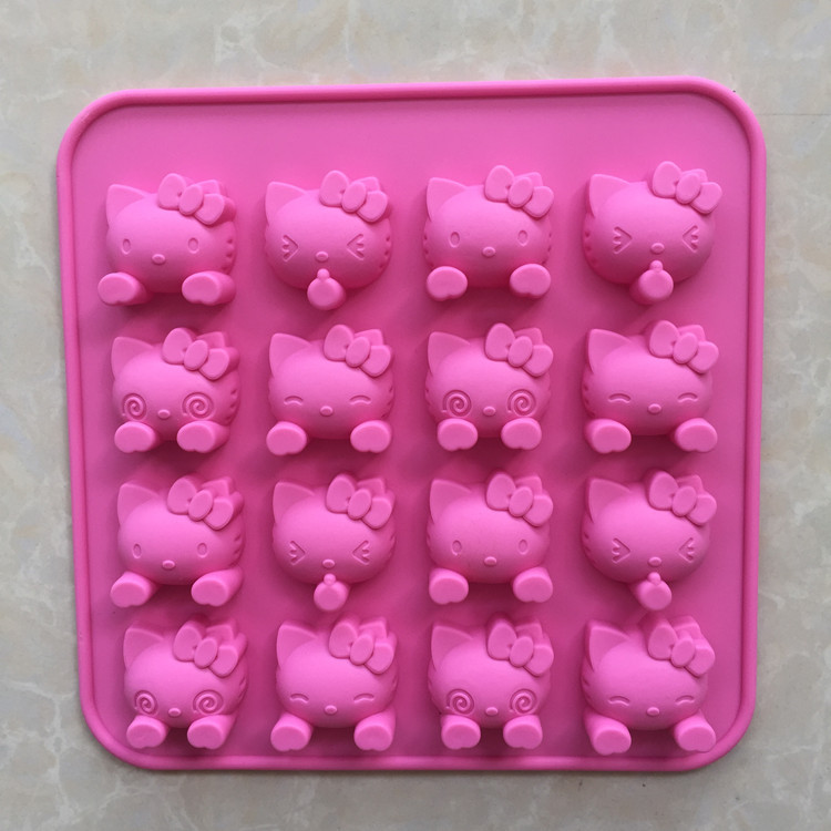 Free shipping 16 holes Mini cartoon hello kitty silicone chocolate Mold fondant Cake tools Baking Pan Jelly Pudding Mould D962(China (Mainland))