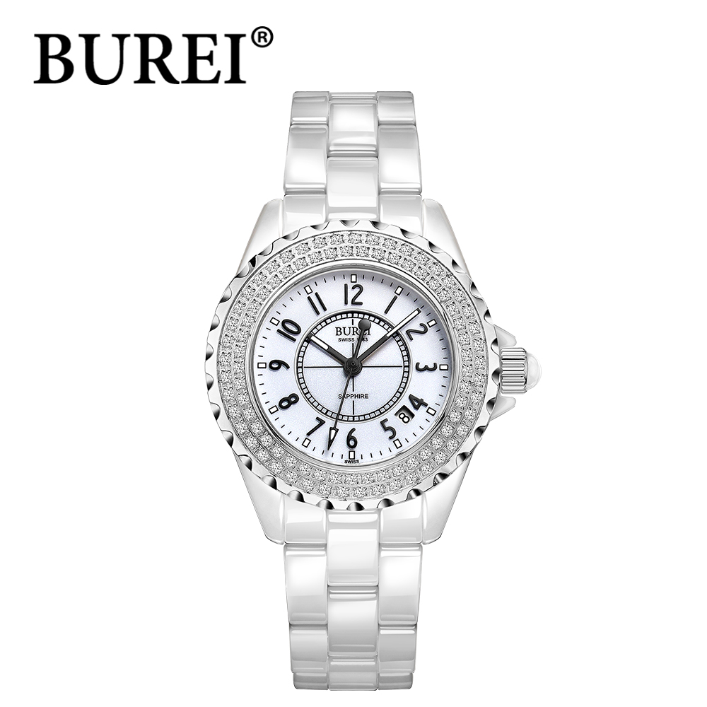 Фотография BUREI luxury diamond Exquisitel ceramic waterproof watches digital scale analog display scratch resistant wristwatches for women