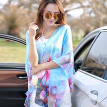 2016 New Arrival Adult Winter Scarf Female Summer Beach Towel Shawl Button Ultra-thin Sunscreen Clothing Uv Chiffon Blouse