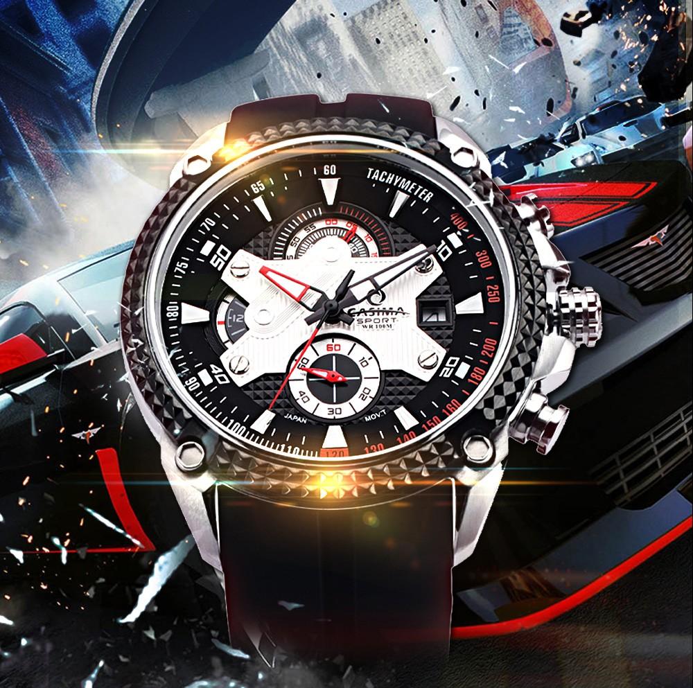 Casima мужские часы из нержавеющей стали спортивные мода роскошные часы многофункциональный кварцевые часы мужчины часы водонепроницаемые 100 м # 8207