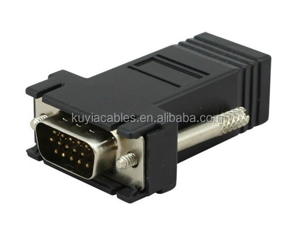 Free shipping+100pcs/lot!! HD15 VGA Extender Male to LAN CAT5 CAT6 RJ45 Network Cable Female Adapter KitER<br><br>Aliexpress