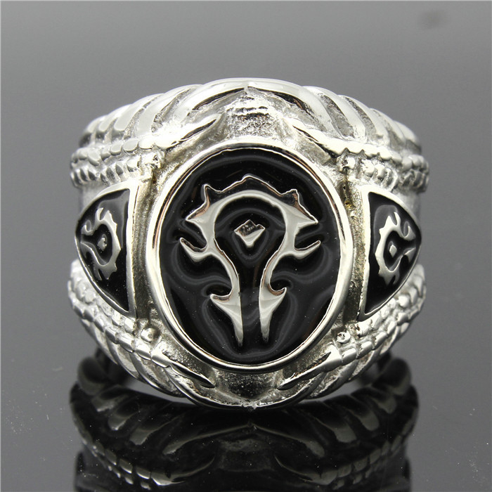 Excow Jewelry World of Warcraft Alliance Horde Sign Game Ring Stainless Steel Band
