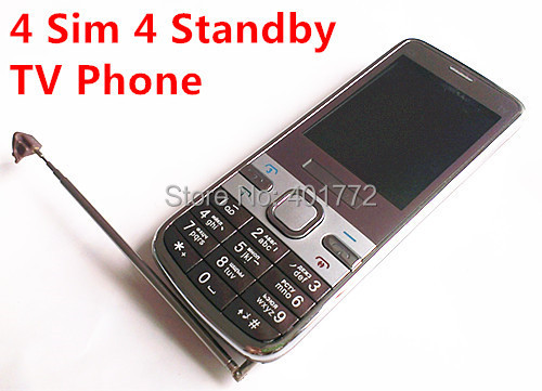 4 Sim Cards 4 Standby Mini Slim Mobile Phone C5 with Metal Cover Analog TV Bluetooth Camera MP3 Russian Keyboard Cheap Phone(China (Mainland))