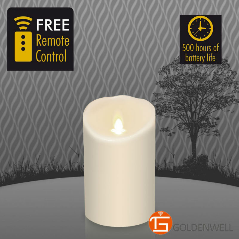 "3.5""*5"" Moving wick led flameless candle with timer remote control(China (Mainland))"