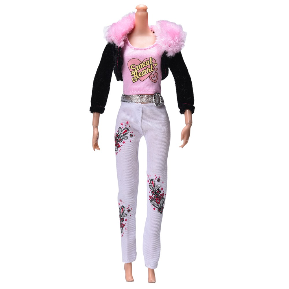 "3 Pcs/Set Dolls Multi-color Clothes Pink Vest Black Fur Collar Coat Fashion Suit For 11"" Barbie Dolls Accessories(China (Mainland))"