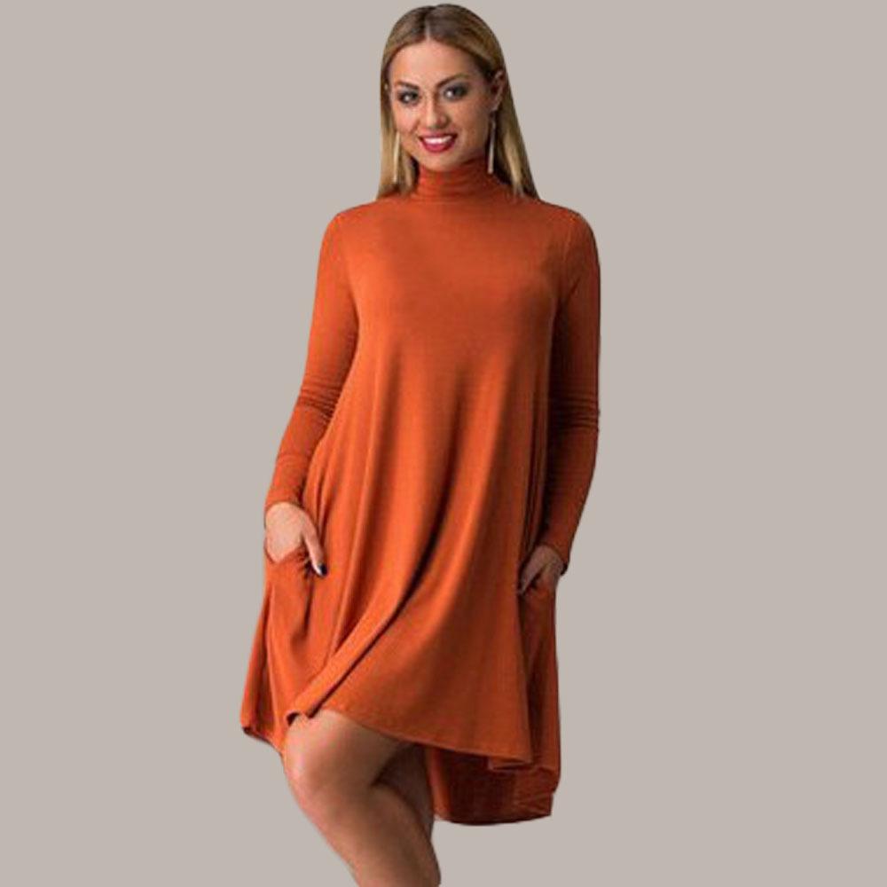 Women Elegant Turtleneck Long Sleeve Loose Plus Size Casual Party Autumn Winter Dress 3XL MK704(China (Mainland))