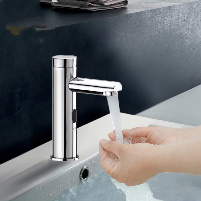 Brass cold Touch-Free Infrared Basin Tap Automatic Sensor Faucet,Sink Taps,Touchless Bathroom Sink Vessel Faucet, Chrome Finish
