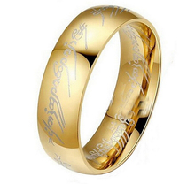 CM406 Hot Movie men's finger Rings the one ring Titanium Stainless Steel gold Ring 6MM for men's gifts wedding men jewelry(China (Mainland))