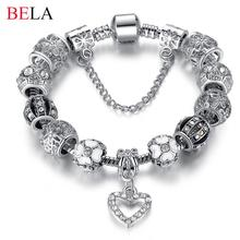 Fashion Silver Heart Charms Bracelet Bangle for Women DIY 925 Crystal Beads Fit Original Bracelets Women Pulseira Jewelry Gift(China (Mainland))