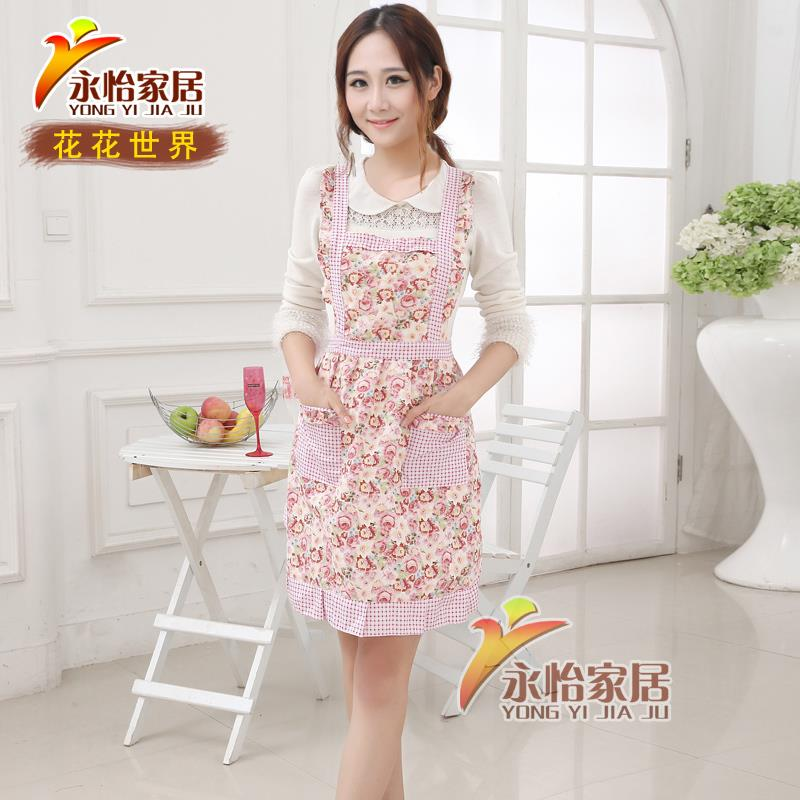 Korean flowers cotton apron cooking aprons for women sleeveless Fashion straps apron Free Shipping(China (Mainland))