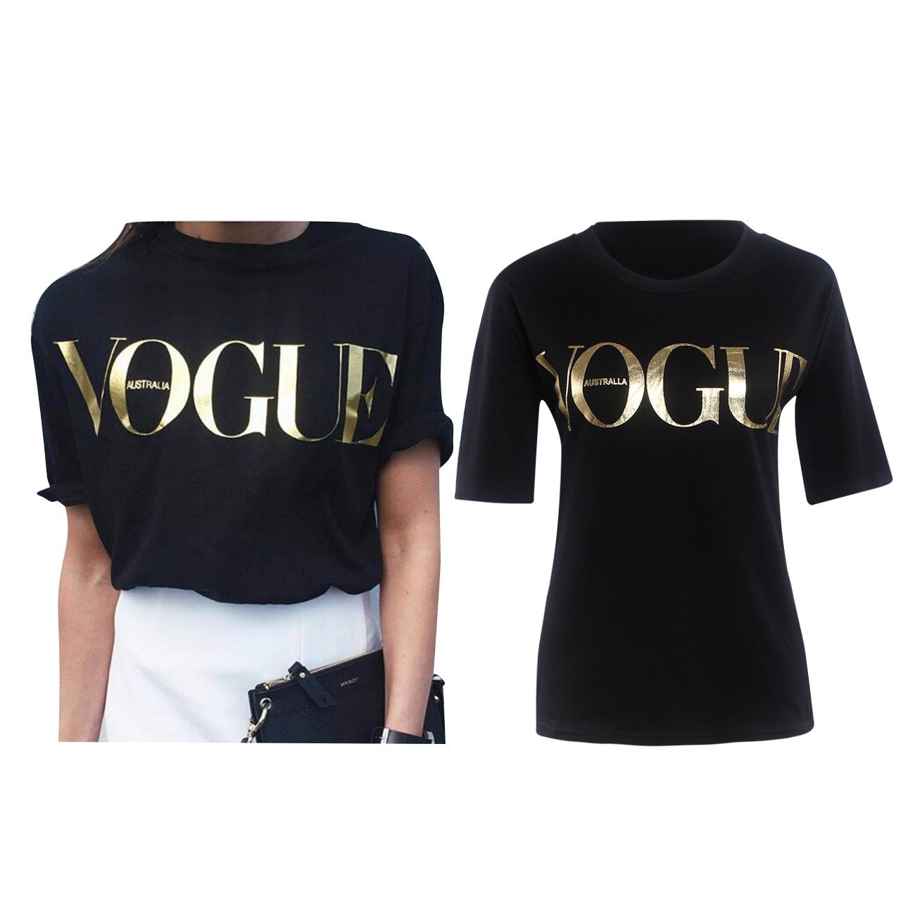 European Tops & Tees Women 2016 T Shirt VOGUE Printed Punk Rock Fashion Graphic Tees Women Designer Clothing T-shirts Tops 8921(China (Mainland))
