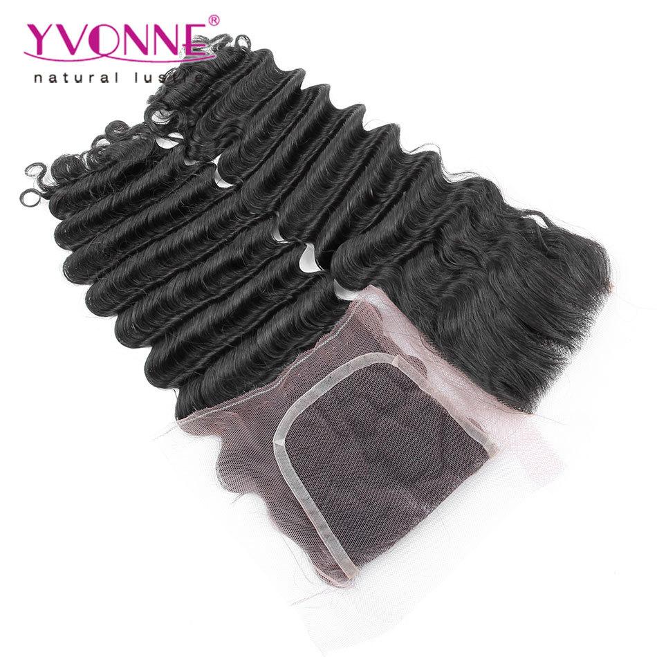 Top Quality Virgin Brazilian Closure 4x4,Deep Wave Human Hair Lace Closure,Aliexpress Yvonne Hair Products,Natural Color 1B(China (Mainland))