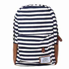 New brand 2015 Fashion Women Double-Shoulder Sweet Stripe Canvas Backpack Schoolbag(China (Mainland))