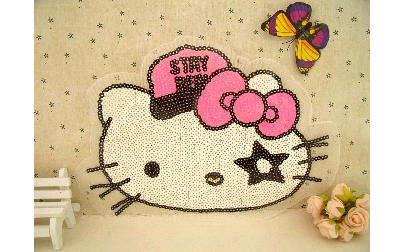 Free shipping Sew-on super LARGE size 28*20CM Hello kitty lace Sequined patches for children DIY clothing 10PCS/LOT P01026(China (Mainland))