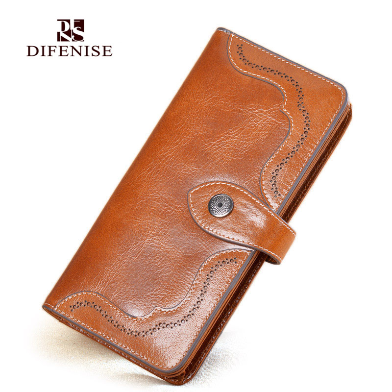 Difenise Vintage Women Wallets Oil Wax Cowhide Leather Ladies Handbags Hasp Tassel Brand Clutch Card Purse Womens Burse Wallets(China (Mainland))