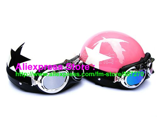 Фотография A.09 - 2 pcs Sweethearts Half Bol Vespa Cycling Half Face Motorcycle White + Pink # Star Helmets Casco & Goggles SIZE M , L , XL