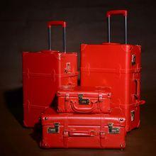 "FixedCaeters Rot gepäck set 20 ""22"" 24 ""leder Vintage Koffer 3 gepäck set Hochzeit koffer tasche Rollgepäck Reise Fall(China (Mainland))"
