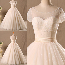 Buy Real Photo Luxury A-Line Beaded Wedding Dress Top Short Sleeve Lace Bridal Gowns Robe De Mariage for $162.00 in AliExpress store