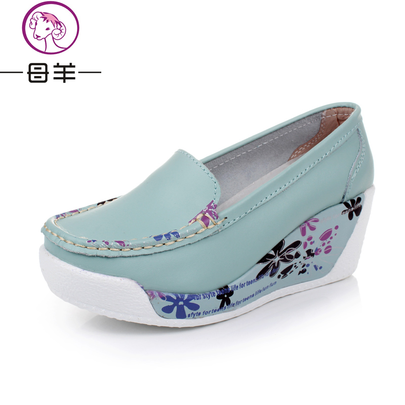 new genuine leather wedges platform casual shoes