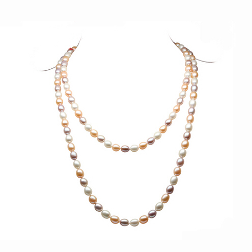 Fashion Long Multilayer Pearl Necklace Natural Freshwater Pearl Mix-color Choker Charm Accessories Statement Necklace For Women