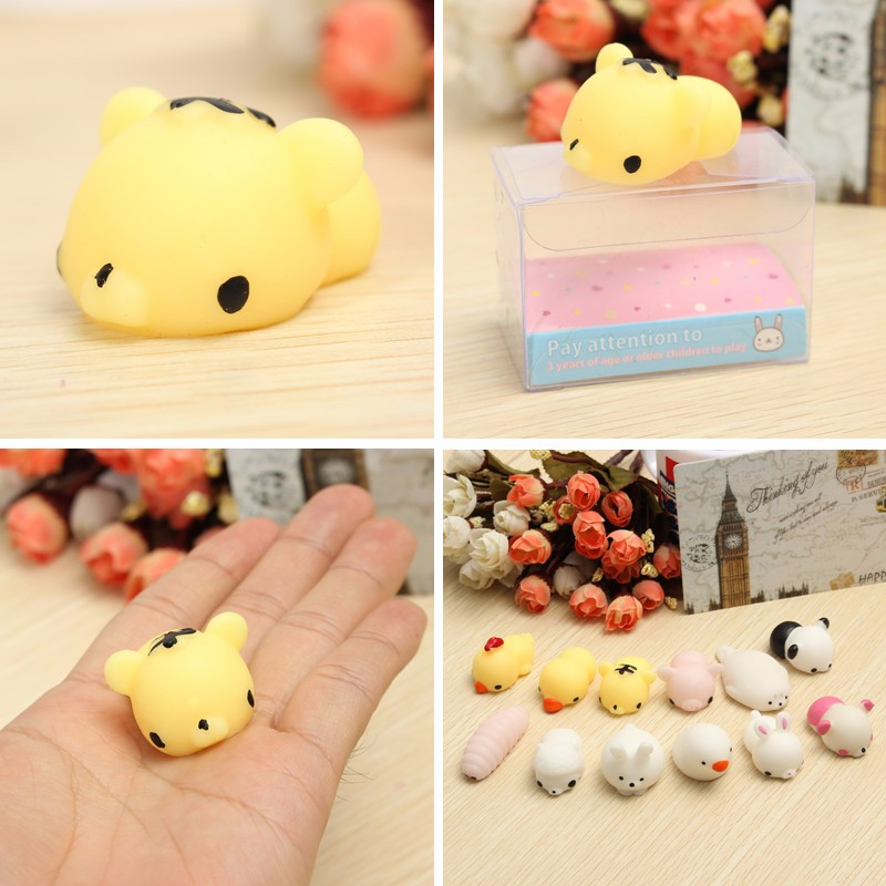 6pcs/set Mochi Chicken Tiger Bunny Bear Pig Lovely Squeeze Cute Healing Toy Collection Gift Decor Novelty Toys For Children(China (Mainland))