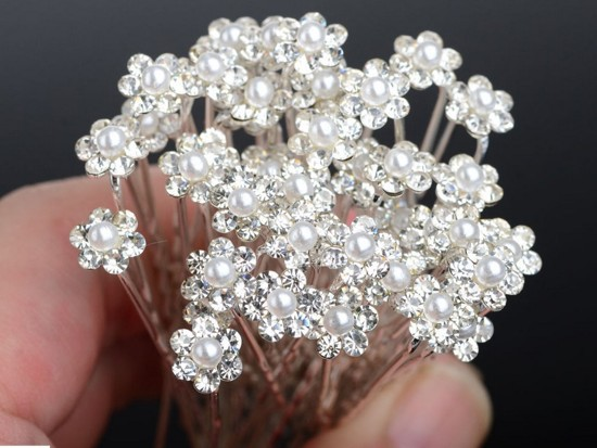 Wholesale 40Pcs Wedding Bridal Clear Crystal Pearl Hair Pins Hair Accessories(China (Mainland))