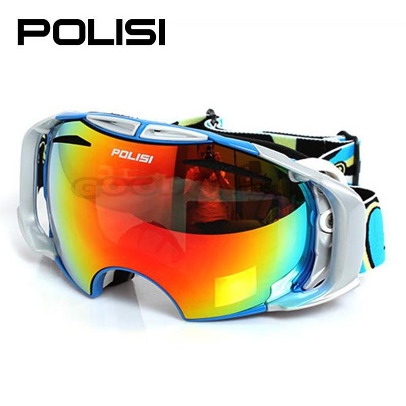 POLISI  P906-BL Ski Snowboard Goggles Snowmobile Motorcycle Skate Anti-Fog goggles snowboard Free Shipping