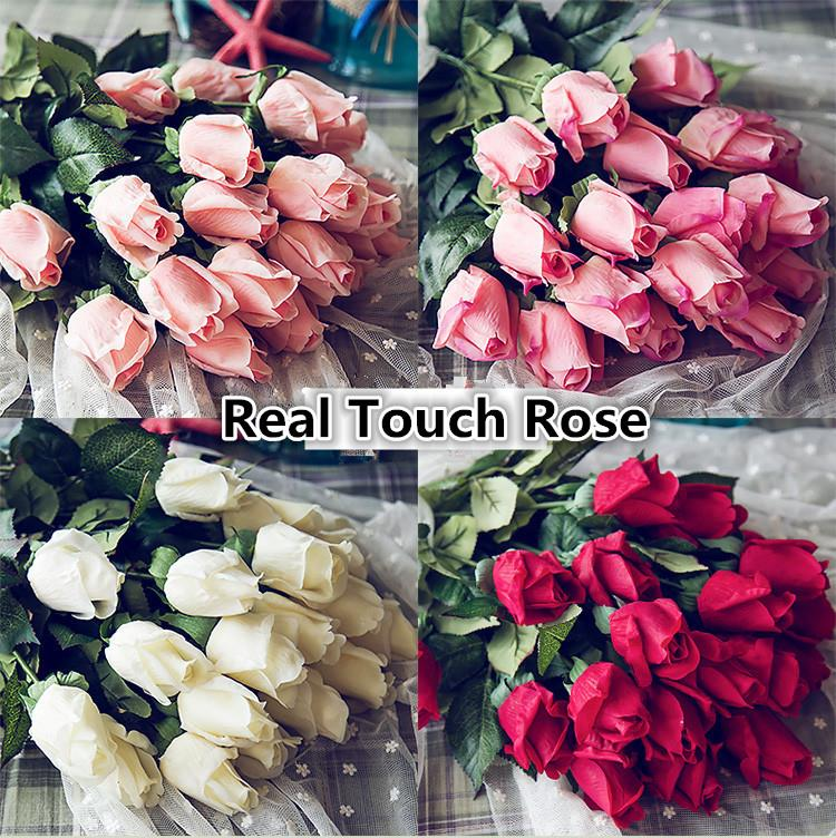 Fresh real touch rose bud artificial silk wedding flowers bouquet fresh real touch rose bud artificial silk wedding flowers bouquet home decorations for wedding party or birthday mightylinksfo