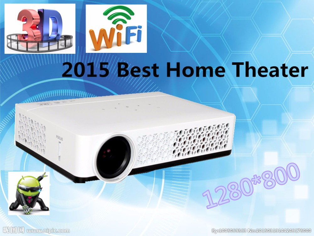Android 4.2.2 Full HD LED Wifi Smart Projector LED Lamp 3D home theater LCD Video Proyector Projektor TV Beamer, watch movies(China (Mainland))