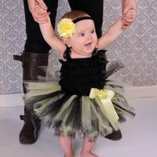 Yellow Black Baby Tutus with Headband Set Newborn Photography Prop Bright Spring Summer Skirt Rainbow Halloween Costume TS063(China (Mainland))