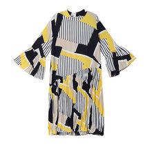 [EAM] 2019 חדש אביב קיץ צווארון עומד ארוך אבוקה שרוול דפוס פסים מודפס קפלים Loose שמלת נשים אופנה גאות JO585(China)