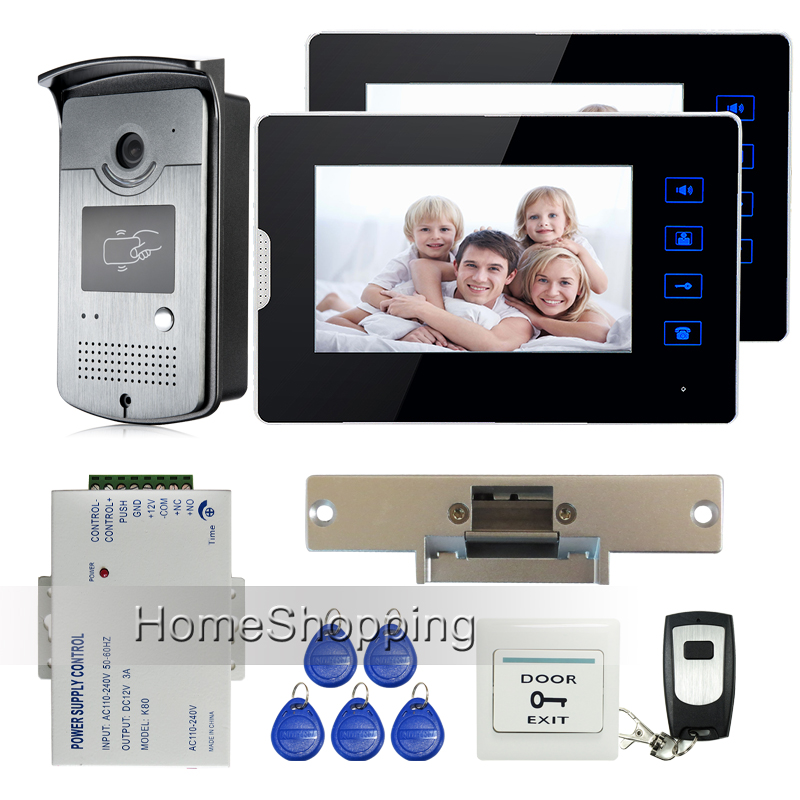 "New 7"" Touch Screen Video Door Phone Intercom + 2 Monitors + Waterproof RFID Access Camera + Electric Strike Door Lock FREE SHIP(China (Mainland))"