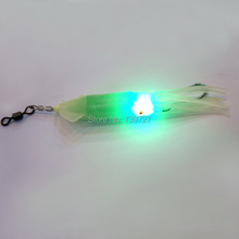 Free Shipping Noctilucent Fishing Green LED Underwater Light Soft Squid Skirt Lure Hook 4.72″/12cm Green