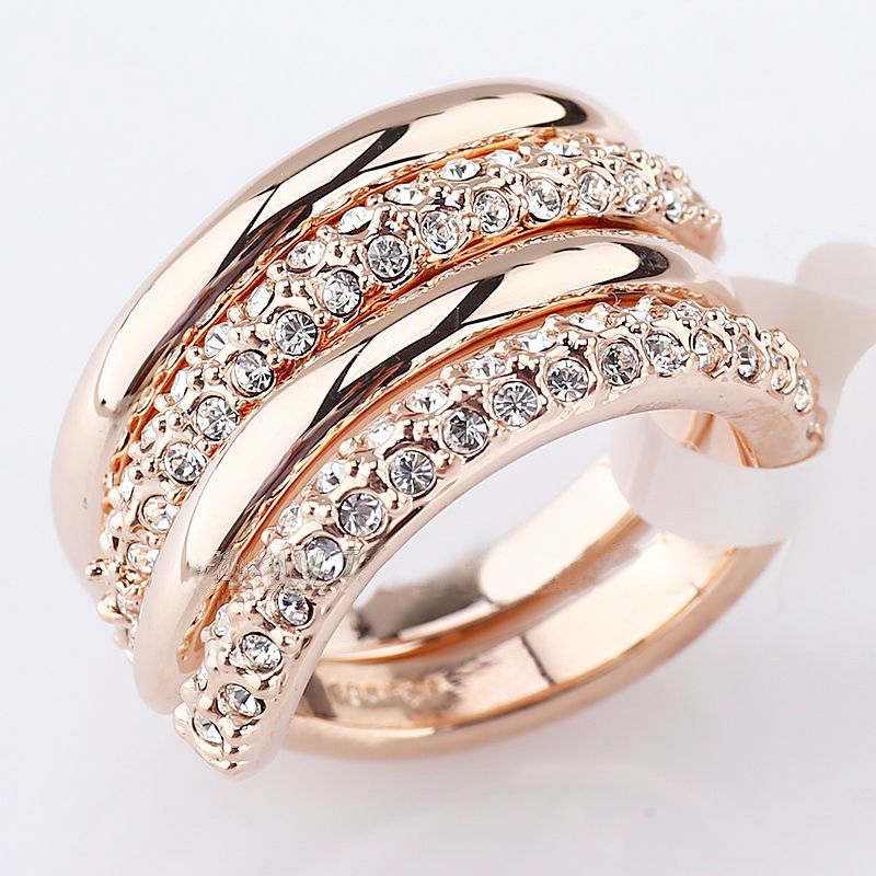 Italina Rigant gold plated Austrian crystal double rings set for women bague wholesale jewellery mix lots anel feminino()