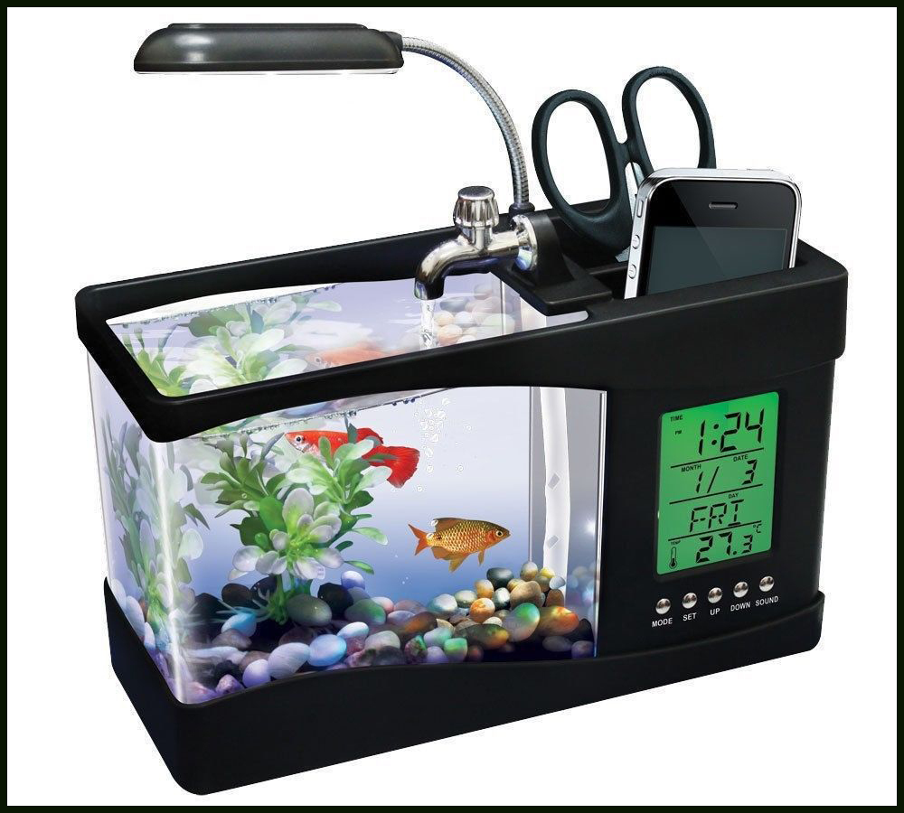 Usb Desktop Electronic Aquarium Mini Fish Tank with Water Running LED Pump Light Calendar Alarm Clock(China (Mainland))